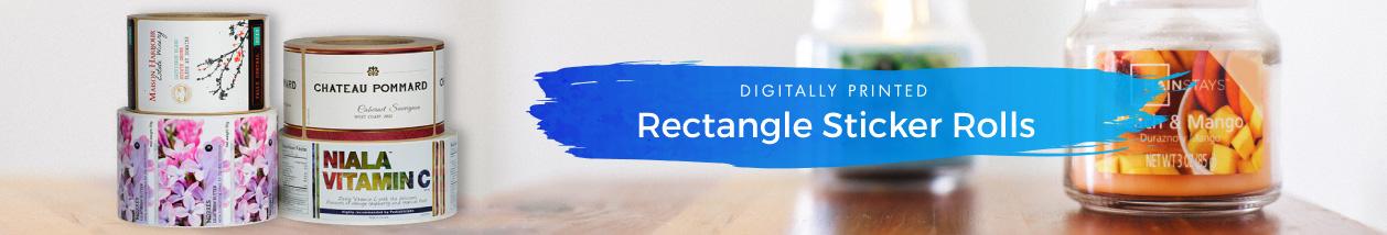 Rectangle Glossy Sticker Rolls