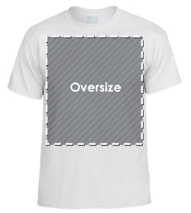 Oversize tee shirt screen print area
