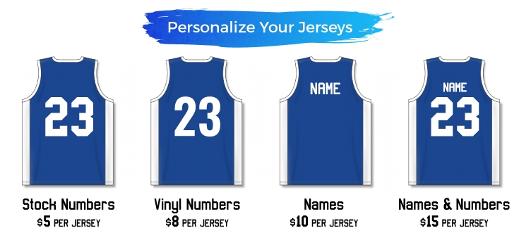 Customize your sports jerseys with names, numbers and your team logo