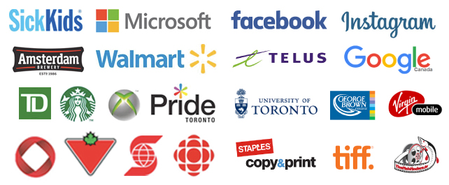 Our customers include Sick Kids Hospital, Microsoft, Amsterdam and many of Canada's largest companies.
