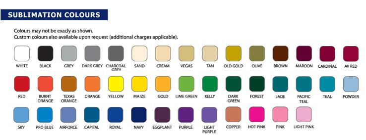 Standard Sublimation Colours   Artik