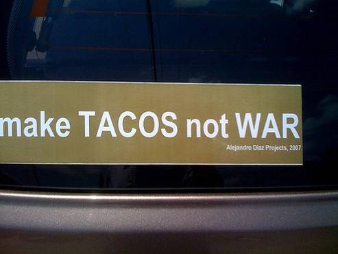Make Tacos not War funny custom bumper stickers