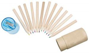 A Dozen Rainbow Wooden Pencils with Sharpener