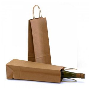 5 x 3 x 13 Natural Kraft Paper Shopper Wine Bag
