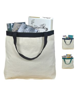 Decorative Band and Coloured Hand Straps Canvas Tote Bag