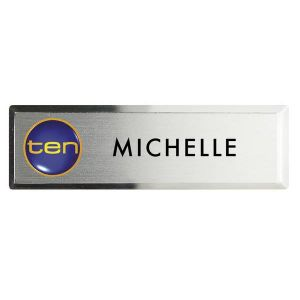 Full Colour Prestige Bevelled Metal Name Badge (2 15/16 x 15/16)