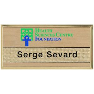 Prestige Bevelled Tape Slot Metal Name Badge (2 15/16
