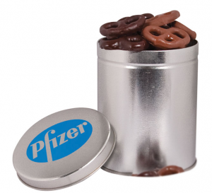 One Quart Tin with Mini Pretzels
