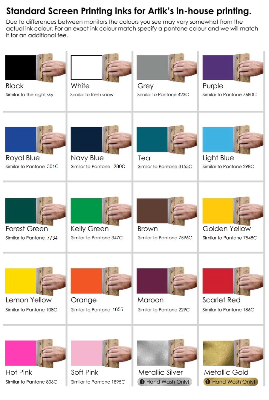 Standard Colours for Screen Print   Artik Toronto