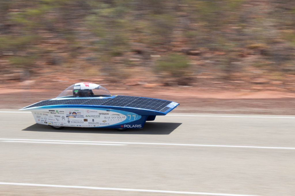 Weight: 300 kg (without driver) Power: 390 24.3% Efficiency Silicon solar cells Batteries: Lithium ion Competitions: World Solar Challenge 2017 - 11th Place in Challenger Class On October 8th the World Solar Challenge officially began. We started on our 3021 km journey down the Stuart Highway in 6th place with strong sunlight and clear skies ahead. On Day 3, the team ran into trouble when we encountered heavy cloud cover, forcing the car to reduce speed. Due to this weather, many other teams were forced to stop their race, so we had to carefully optimize our battery usage in order to continue competing. After a rainy night, we were woken up early on Day 4 by severe winds and thunderstorms. While the storm was certainly unexpected in the Outback, fortunately we were well prepared, and managed to pack everything up quickly. By Day 5 we reached clear skies again and were able to finish the day in 8th place. On Day 6, Polaris reached its top speed of 105km/h but encountered some very strong headwinds, forcing the team to finish the day just 150km outside of Adelaide. On the morning of Day 7, we arrived in Adelaide in 11th place! We had completed the Bridgestone World Solar Challenge, traversing 300km in some of the worst storms the region had seen in 20 years.