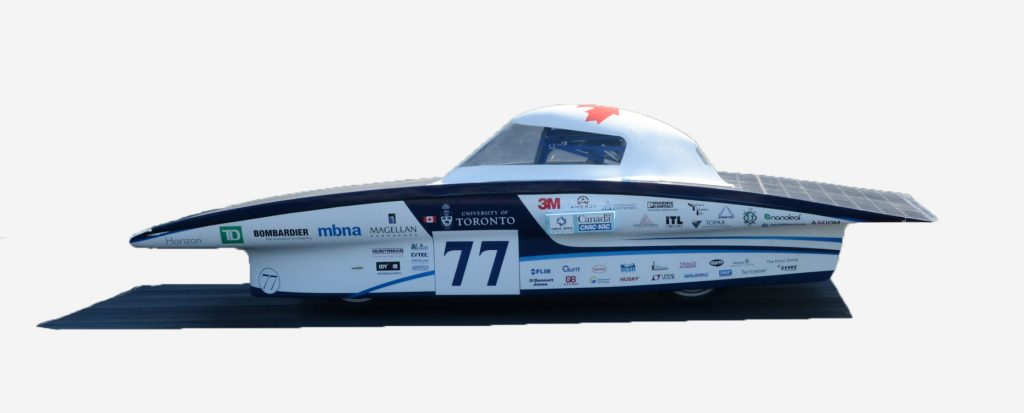 Horizon Weight: 530 lbs (without driver) Power: 1400W 24% Silicon solar cells Batteries: Lithium ion Competitions: World Solar Challenge 2015 - 12th Place in Challenger Class, American Solar Challenge 2016 - 3rd Place Horizon was unveiled to the world on August 7th 2015 as the Blue Sky Solar Racing team's 8th generation car. This was the first generation to move the driving compartment to one side to maximize effiencey. The car competed in Australia for the 2015 World Solar Challenge where it placed 12th overall, 3rd in North America. In 2016 the team brought the car to the American Solar Challenge where they placed 3rd overall and 1st in Canada.