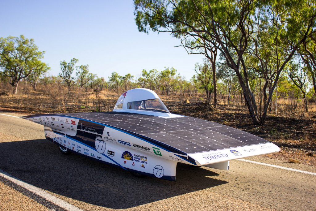 easily customize Google maps for your website Weight: 530 lbs (without driver) Power: 1400W 24% Silicon solar cells Batteries: Lithium ion Competitions: World Solar Challenge 2015 - 12th Place in Challenger Class, American Solar Challenge 2016 - 3rd Place Horizon was unveiled to the world on August 7th 2015 as the Blue Sky Solar Racing team's 8th generation car. This was the first generation to move the driving compartment to one side to maximize effiencey. The car competed in Australia for the 2015 World Solar Challenge where it placed 12th overall, 3rd in North America. In 2016 the team brought the car to the American Solar Challenge where they placed 3rd overall and 1st in Canada.