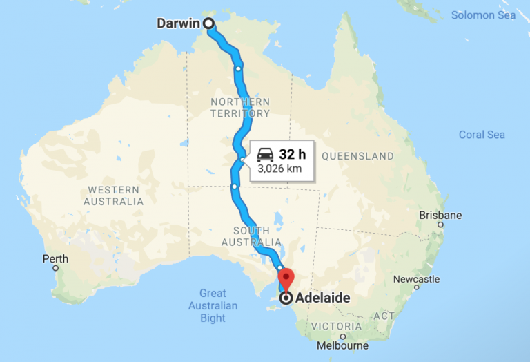 Racing from Darwin to Adelaide Australia