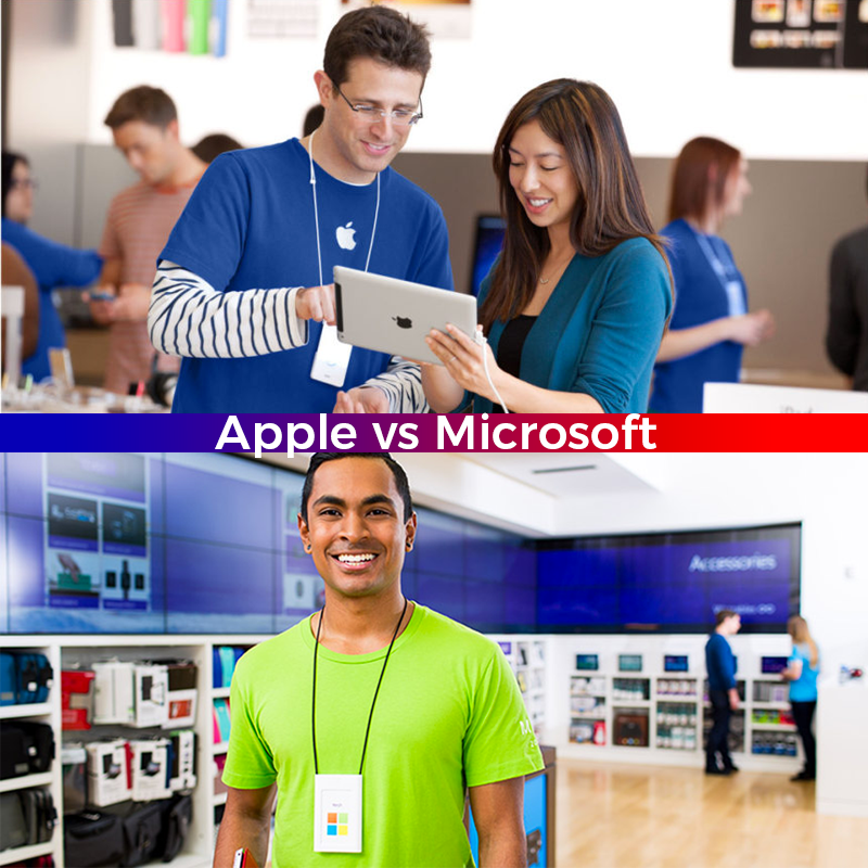 Apple vs Microsoft Custom Printed Uniform Design