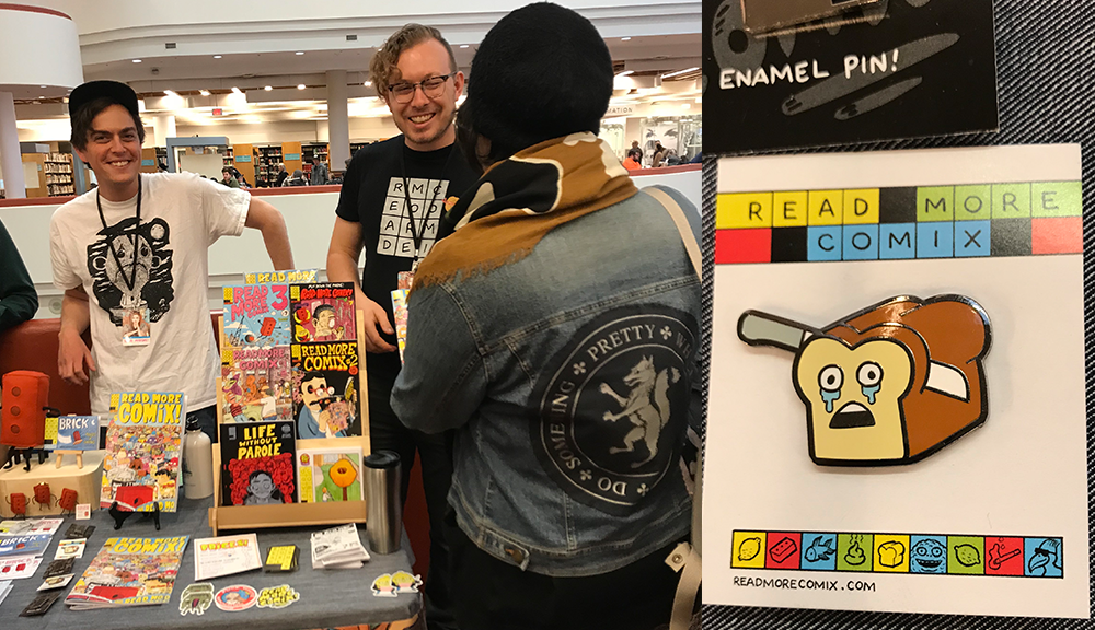 Read More Comix sells lapel pins to promote their collections