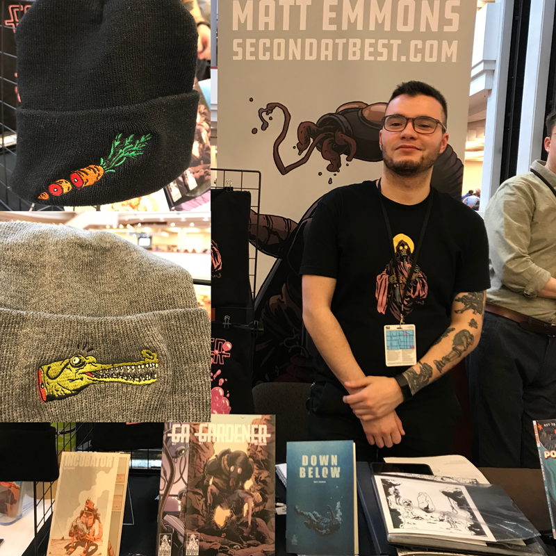 Showing custom embroidered toques at Toronto Comic Arts Fair