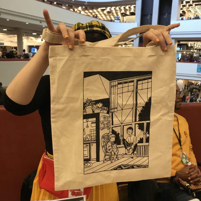 Custom book tote bag printed by @HeyLuchie on Instagram