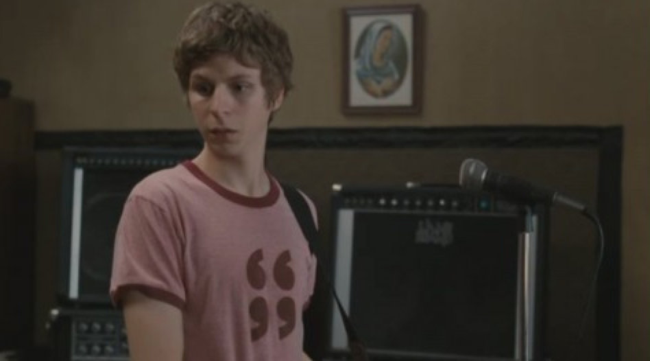Custom Printed Air Quotes T-Shirt worn by Michael Cera