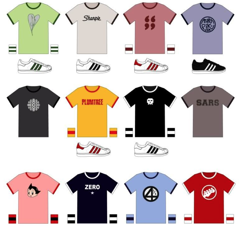 A selection of the shirts worn in Scott Pilgrim!