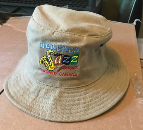 Embroidered bucket hat for Toronto Beaches Jazz Festival