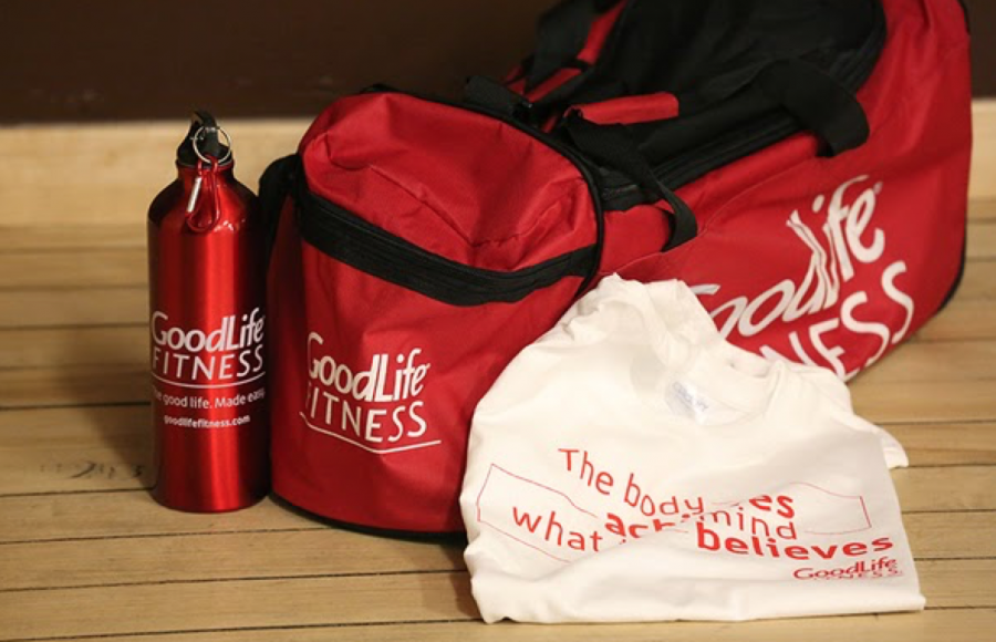 Custom printed gym bags at the GoodLife Fitness