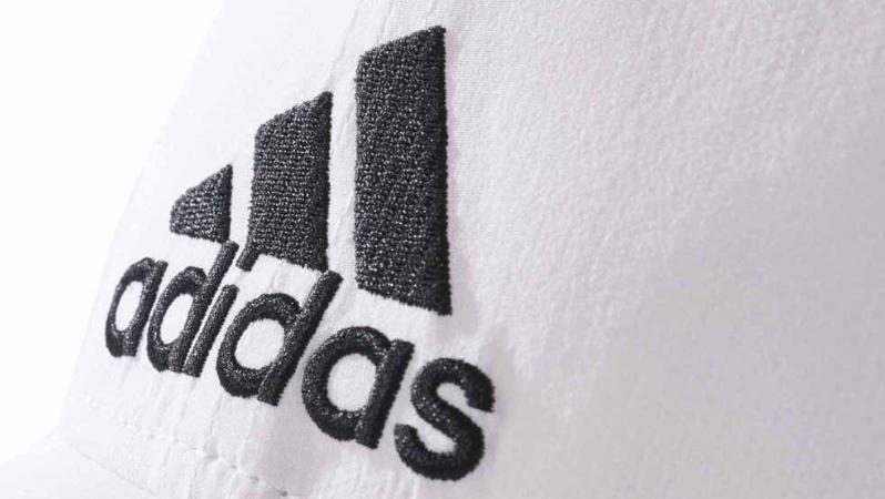 Adidas logo embroidered on a 6 panel baseball cap