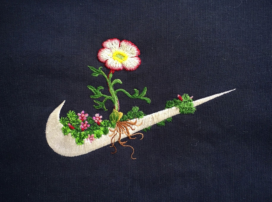 Embroidered art by James Merry
