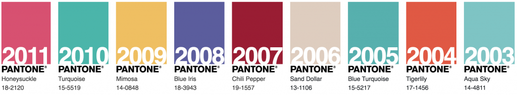 Pantone colours of the year