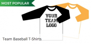 Baseball Tees with long coloured sleeves for Little League Youth Baseball teams