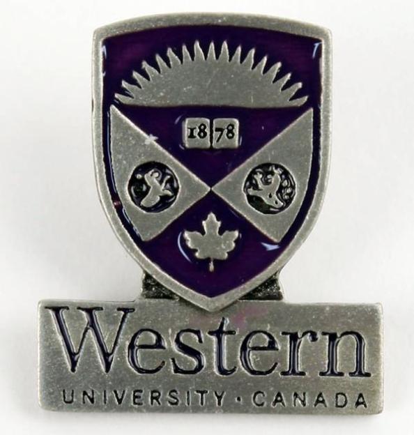 Customized lapel pin for Western University merchandising