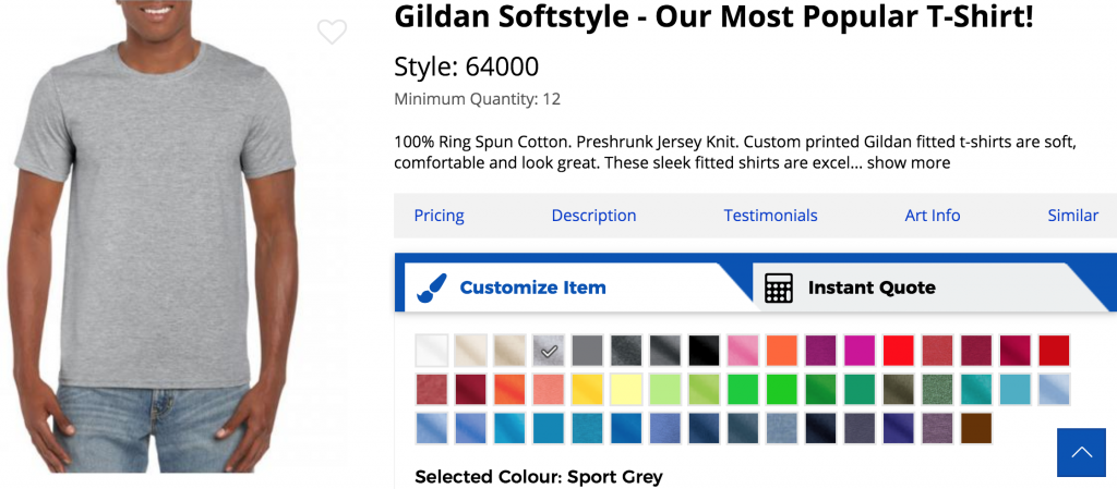 A screenshot from Artik's custom t-shirt page for Gildan Softstyle shirt